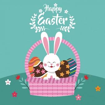 Szczęśliwy easter r królik w koszykowym jajku