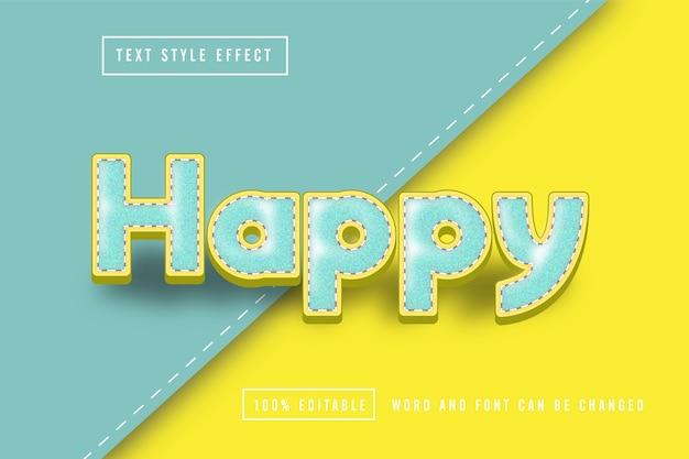 Szczęśliwy edytowalny efekt tekstowy do szycia