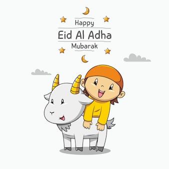 Szczęśliwy eid al adha mubarak. ręcznie rysowane kreskówka ładny muzułmański chłopiec i koza