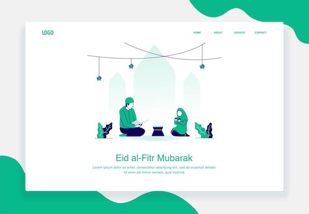 Szczęśliwy eid al fitr ilustracja koncepcja mężczyzny i dziewczyny siedzącej podczas czytania płaskiej konstrukcji koranu