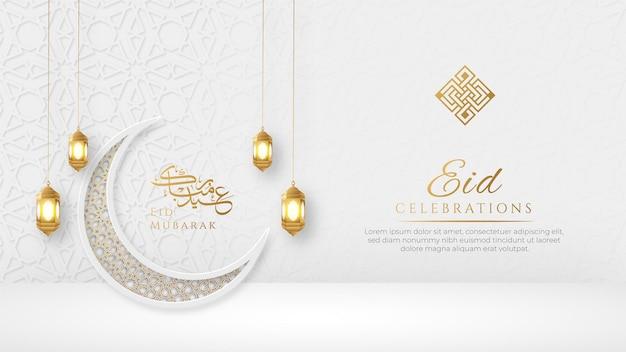 Szczęśliwy eid arabski elegancki luksusowy ozdobne tło islamskie z półksiężycem i złotym wzorem