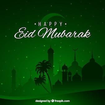 Szczęśliwy eid mubarak tło zielony projekt