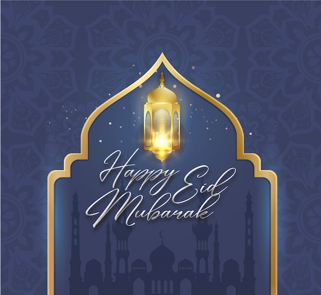 Szczęśliwy eid mubarak w kolorze niebieskiego złota z latarnią