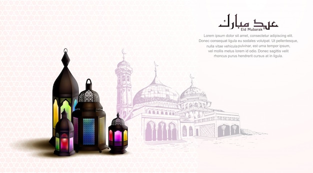 Szczęśliwy eid mubarak z kolorową lampionem dla kartka z pozdrowieniami