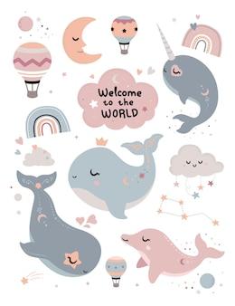 Szczęśliwy element baby shower z wielorybem
