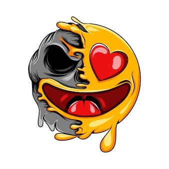 Szczęśliwy emotikon miłości z oczami miłości zmienia się w wyraz czaszki śmierci