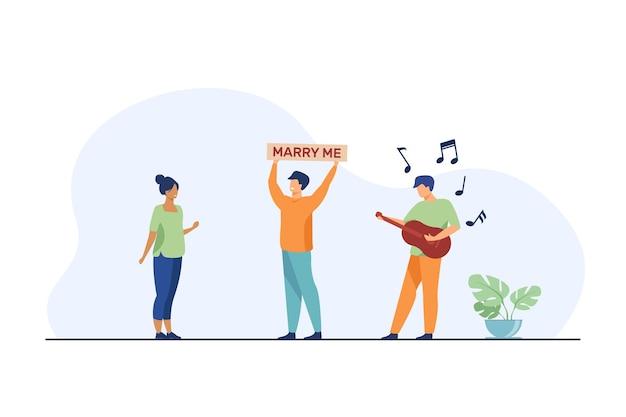 Szczęśliwy facet proponuje małżeństwo z kobietą