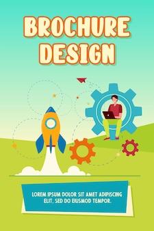 Szczęśliwy facet rozwija projekt dla szablonu broszury startowej