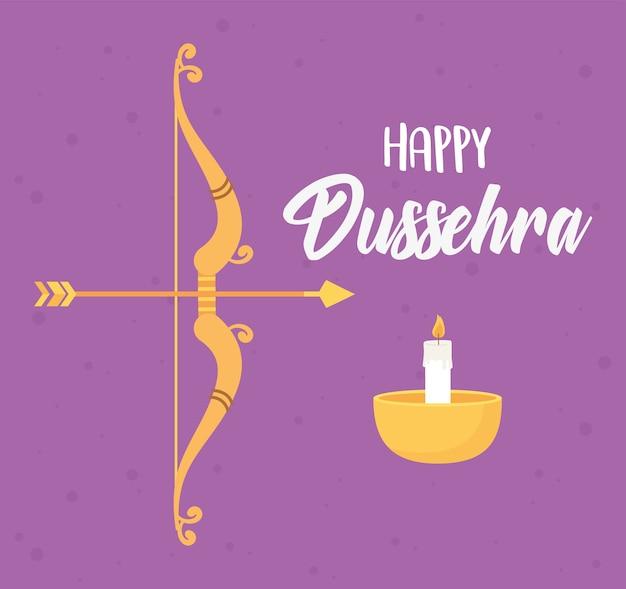 Szczęśliwy festiwal dasera w indiach, łuk strzały i ilustracja lampy diya