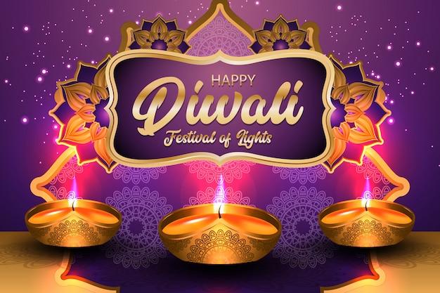 Szczęśliwy festiwal diwali świateł z ilustracją złota lampa naftowa