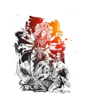 Szczęśliwy festiwal durga puja indie wakacje tło, ręcznie rysowane szkic wektor ilustracja.