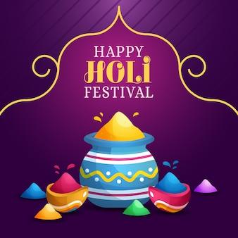 Szczęśliwy festiwal holi z kolorową farbą proszkową