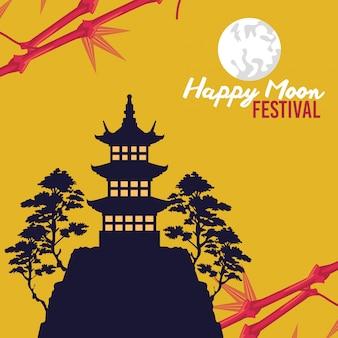 Szczęśliwy festiwal w połowie jesieni z zamkiem i drzewami