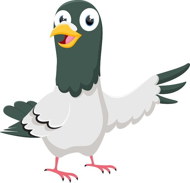Szczęśliwy gołąb kreskówka wskazuje