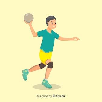 Szczęśliwy gracz piłki ręcznej z płaskim projektem