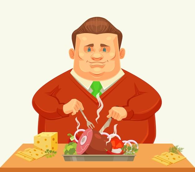 Szczęśliwy grubas postać jedzenie duże danie.