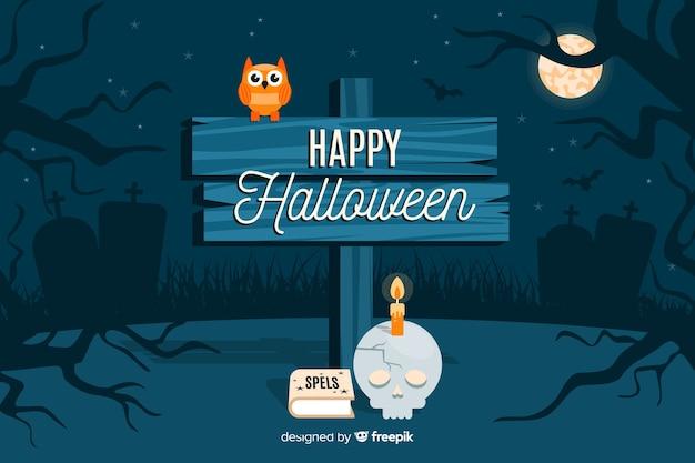 Szczęśliwy halloween podpisuje wewnątrz nocy tło