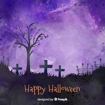 Szczęśliwy halloween tło w cmentarzu