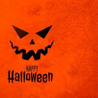 Szczęśliwy halloween tło z roześmianą duch twarzą