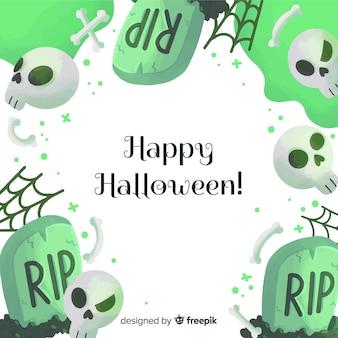 Szczęśliwy halloween tło z zielonymi nagrobkami