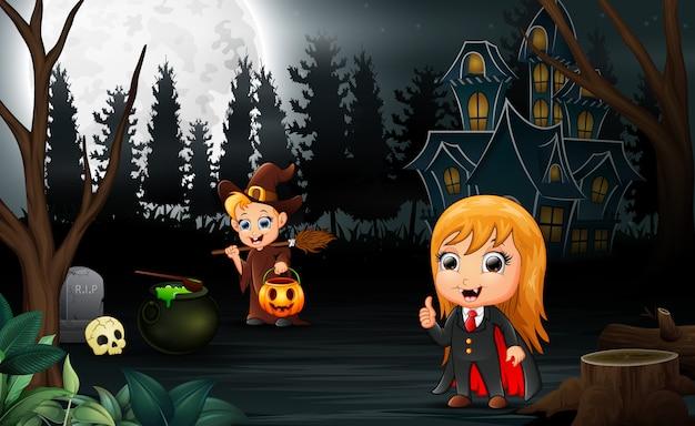 Szczęśliwy halloween z wampirem i czarownica kreskówka