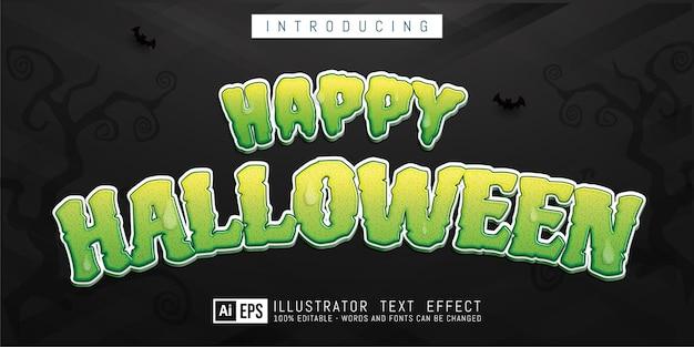Szczęśliwy halloweenowy efekt edytowalnego stylu tekstu odpowiedni dla motywu halloweenowego banera