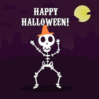 Szczęśliwy halloweenowy kartka z pozdrowieniami z śmiesznym szkieletowym tanem w przyjęciu