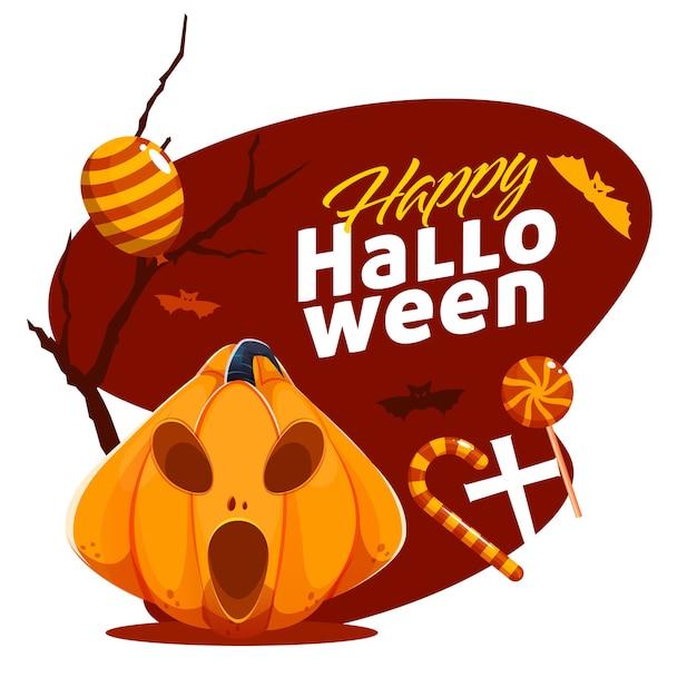 Szczęśliwy halloweenowy projekt plakatu z upiorną lampionem jack-o-lantern, cukierkami, balonami i latającymi nietoperzami na brązowym i białym tle.