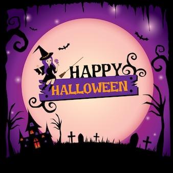Szczęśliwy halloweenowy projekt z śliczną czarownicą na purpurowym tle.
