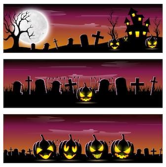 Szczęśliwy halloweenowy sztandar ustawiający z strasznymi baniami