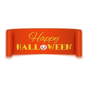 Szczęśliwy halloweenowy tekst na realistycznym pomarańczowym tasiemkowym sztandarze