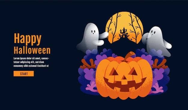 Szczęśliwy halloweenowy tło z banią