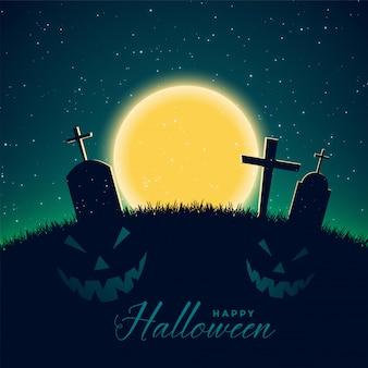 Szczęśliwy halloweenowy tło z cmentarzem
