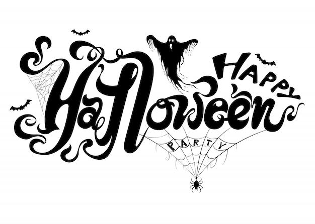 Szczęśliwy halloweenowy tło z duchem