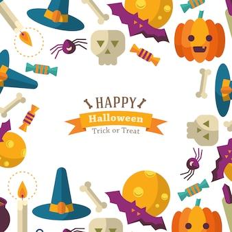Szczęśliwy halloweenowy tło z płaskimi ikonami