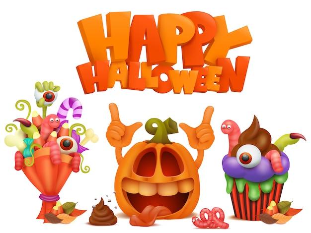 Szczęśliwy halloweenowy ustawiający wektorowe ikony.