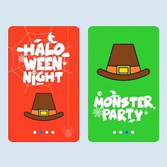 Szczęśliwy halloweenowy zaproszenie projekt z kapeluszowym wektorem