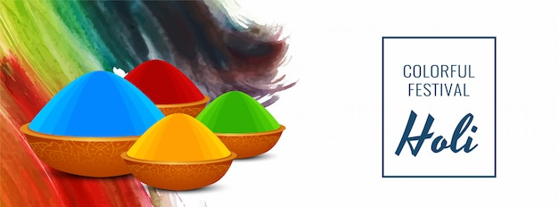 Szczęśliwy holi indyjskiego festiwalu kolorowy sztandar szablon