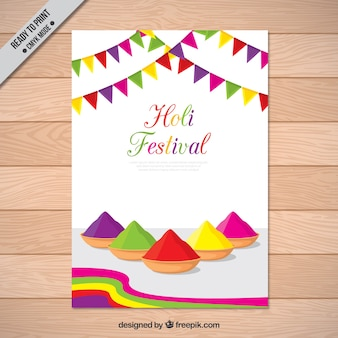 Szczęśliwy Holi Kolorowe Broszury Darmowych Wektorów