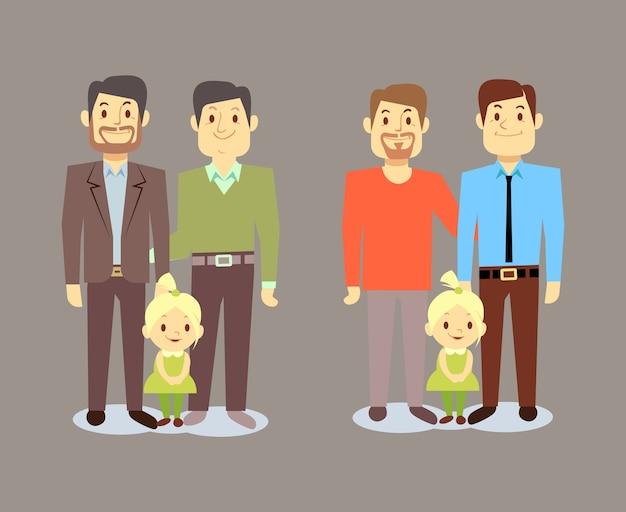 Szczęśliwy homoseksualny lgbt mężczyzna rodziny z dziećmi