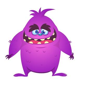 Szczęśliwy i śliczny kreskówka potwór. ilustracji wektorowych