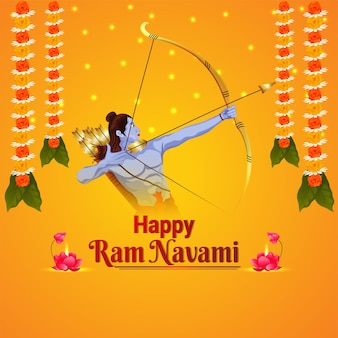 Szczęśliwy indyjski festiwal barana navami z kreatywną ilustracją pana ramy