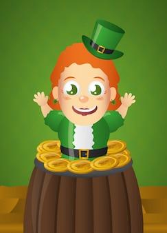 Szczęśliwy irlandzki krasnoludek z zielonym kapeluszem w kociołku, dzień świętego patryka