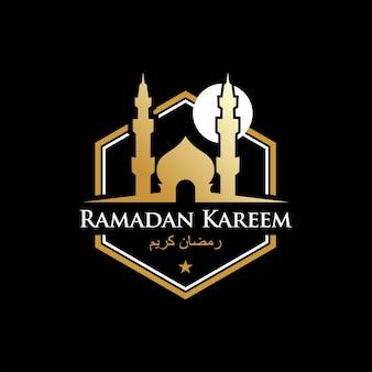 Szczęśliwy islamski wektor złoto czarne tło