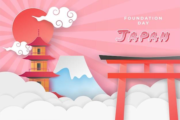 Szczęśliwy japoński dzień fundacji narodowej w stylu wycinanki z papieru z edytowalnym efektem tekstowym