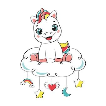 Szczęśliwy jednorożec siedzący na chmurze