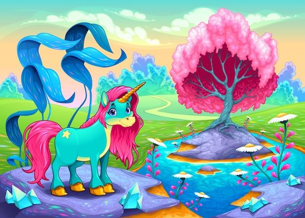 Szczęśliwy jednorożec w krajobrazie marzeń wektor cartoon ilustracji
