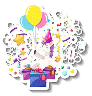 Szczęśliwy jednorożec z pudełkiem prezentowym i tęczowym konfetti
