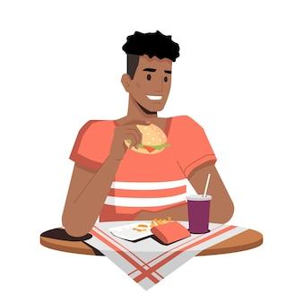 Szczęśliwy jedzenie hamburgera, frytki i picie coli lub sody na białym tle płaska osoba z kreskówek.