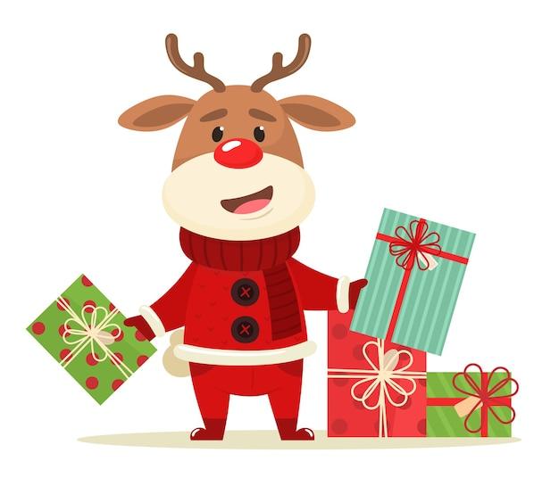 Szczęśliwy jeleń z prezentami.